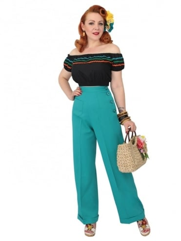 1940s Swing Trousers Crepe Teal