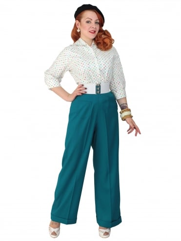 1940s Swing Trousers Crepe Topaz