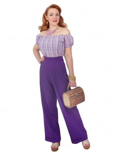1940s Swing Trousers Crepe Violet