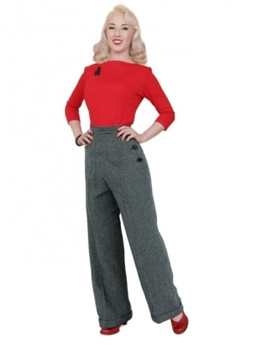1940s Swing Trousers Dogtooth Black