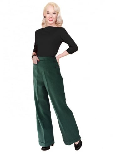1940s Swing Trousers Dogtooth Green
