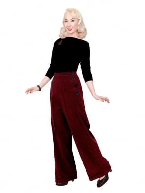 1940s Swing Trousers Dogtooth Red