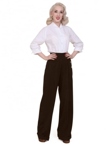 1940s Swing Trousers Flannel Pinstripe Brown