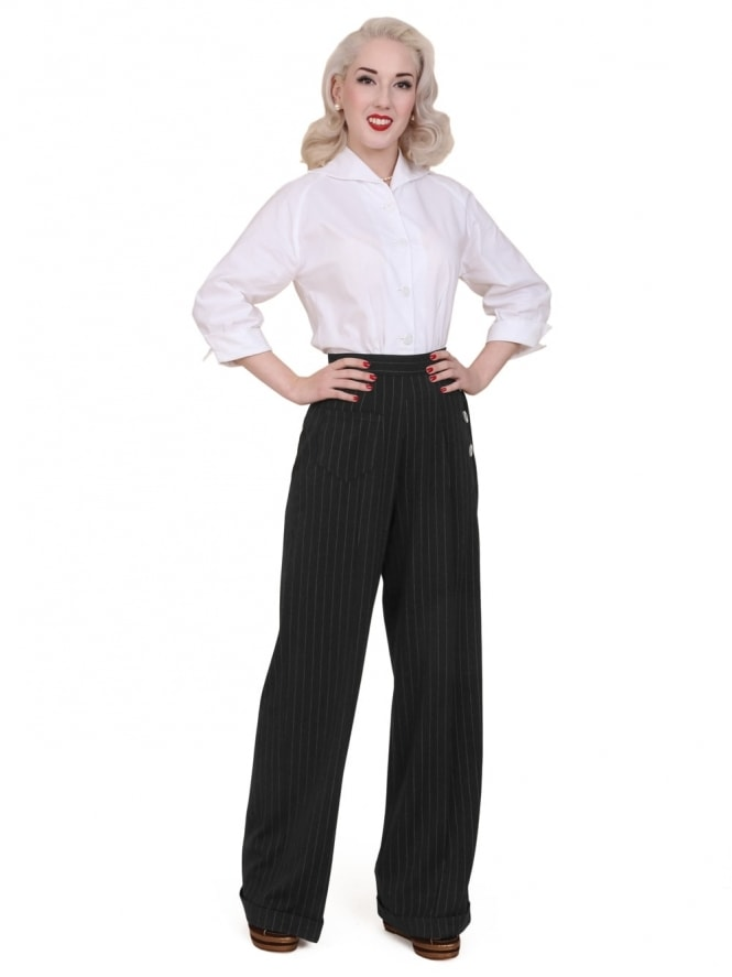 50s-1950s-Vivien-of-Holloway-Best-Vintage-Style-Reproduction-Repro-1940s-Swing-Trousers--Black-Flannel-Pinstripe-Rockabilly-Swing-Pinup