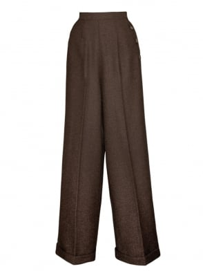 1940s Swing Trousers Large Herringbone Brown