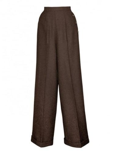 1940s Swing Trousers Large Herringbone Brown