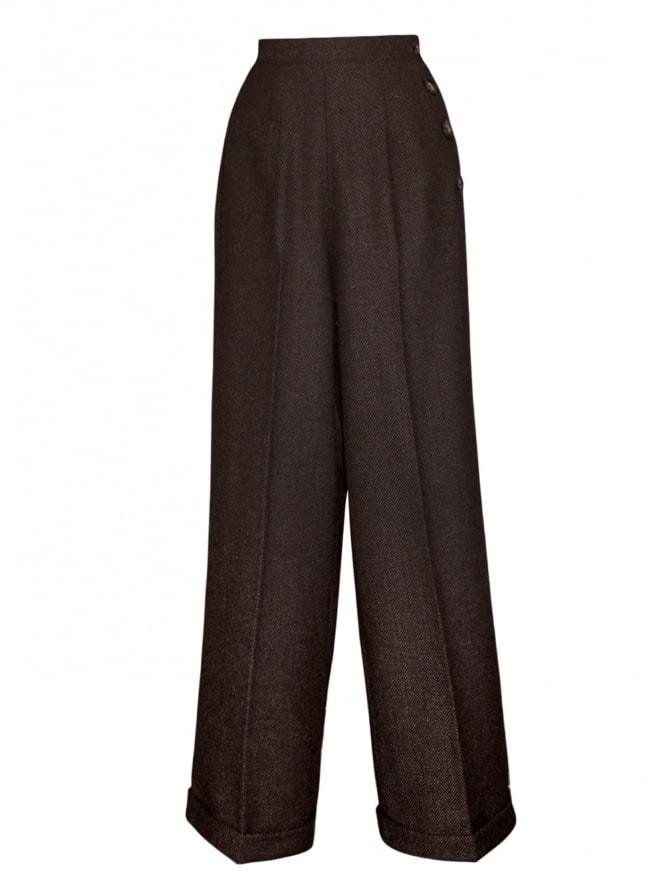 1940s Swing Trousers Large Herringbone Dark Brown
