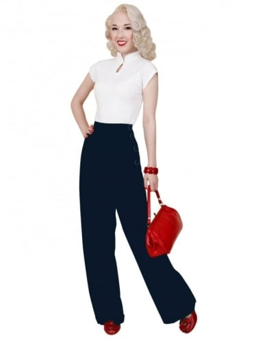 1940s Swing Trousers Midnight Soft