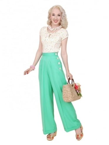 40s-1940s-Vivien-of-Holloway-Best-Vintage-Reproduction-Swing-Trousers-Ocean-Green-Rockabilly-Swing-Pinup
