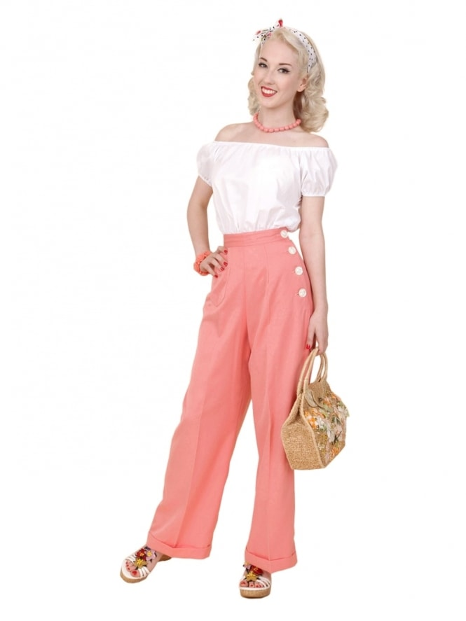 40s-1940s-Vivien-of-Holloway-Best-Vintage-Reproduction-Swing-Trousers-Peach-Pink-Rockabilly-Swing-Pinup