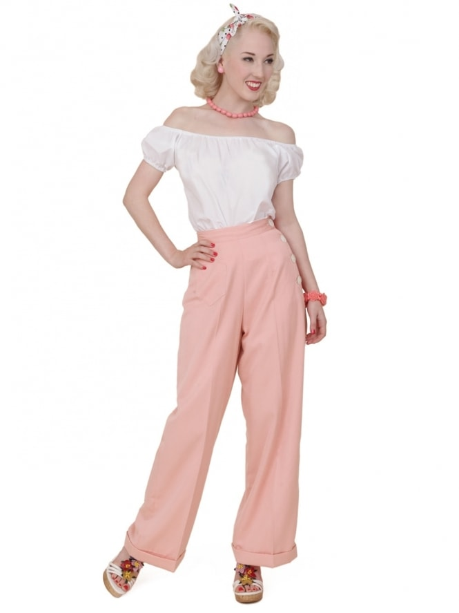 40s-1940s-Vivien-of-Holloway-Best-Vintage-Reproduction-Swing-Trousers-Pink-Soft-Rockabilly-Swing-Pinup