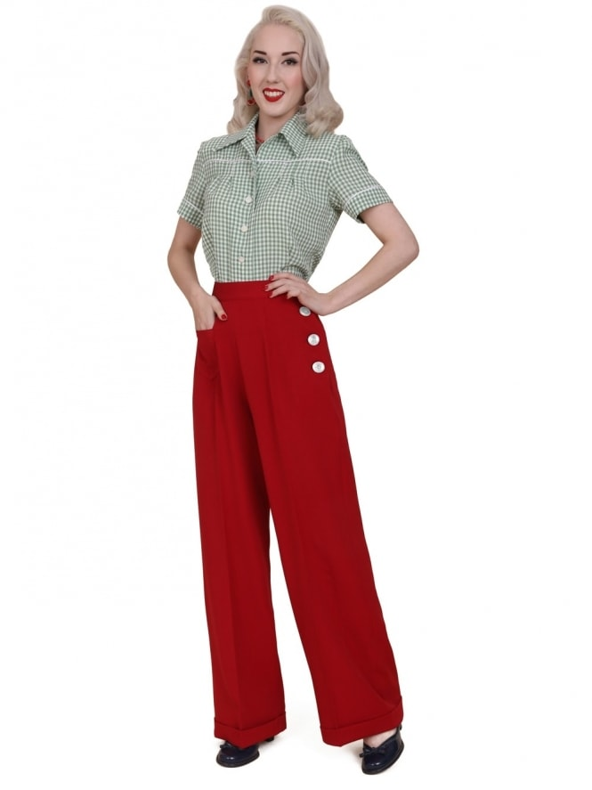 40s-1940s-Vivien-of-Holloway-Best-style-Vintage-Reproduction-Swing-Trousers-Ruby-Red-Rockabilly-Swing-Pinup