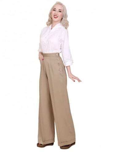1940s Swing Trousers Sand Soft