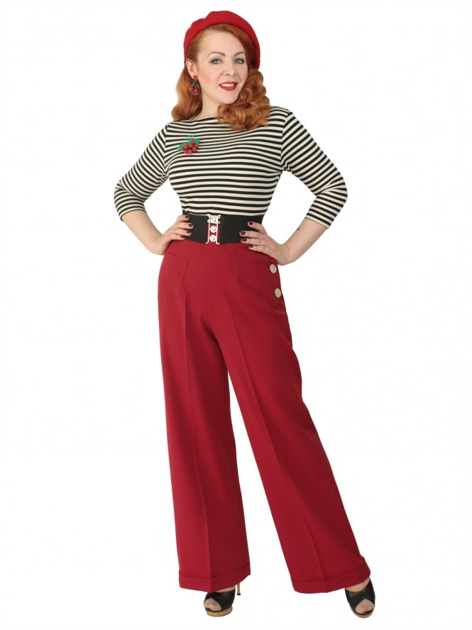 1940s Swing Trousers Scarlet
