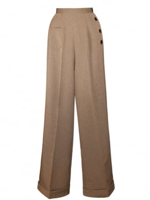 1940s Swing Trousers Small Herringbone Brown
