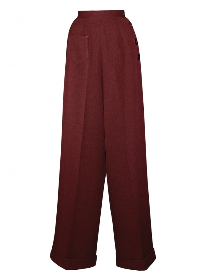 1940s Swing Trousers Small Herringbone Burgundy