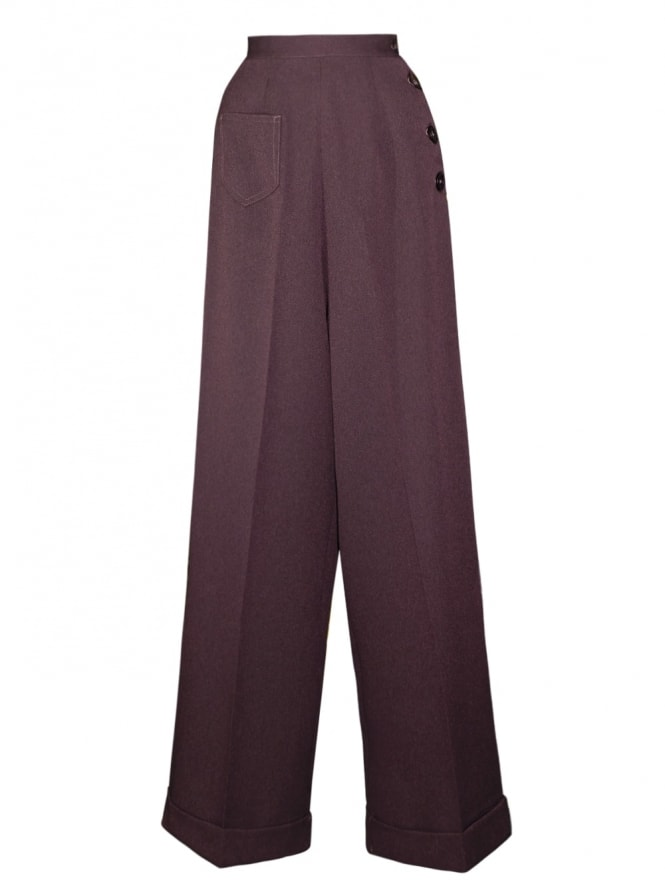 1940s Swing Trousers Small Herringbone Purple