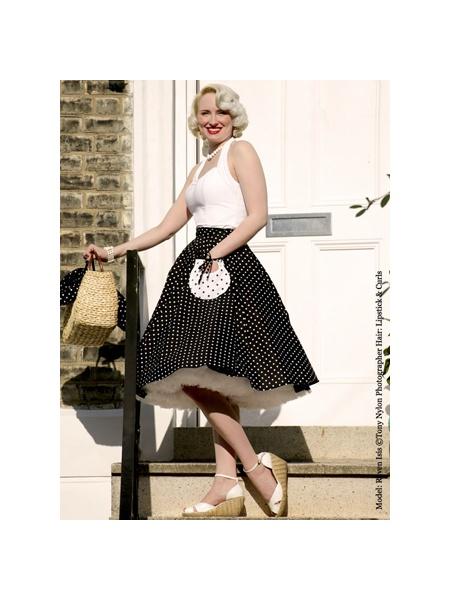 1950s Circle Skirt Black White Spot From Vivien Of Holloway