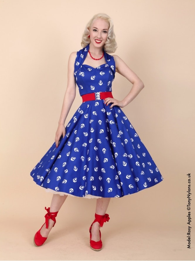 50s-1950s-Vivien-of-Holloway-Best-Vintage-Reproduction-Halterneck-Circle-Dress-Royal-Blue-White-Anchor-Print-Rockabilly-Swing-Pinup
