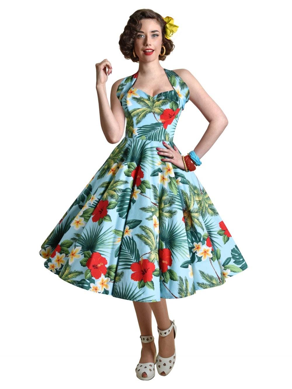 d6f4e8abfffee 1950s Halterneck Barbados Sky Dress from Vivien of Holloway