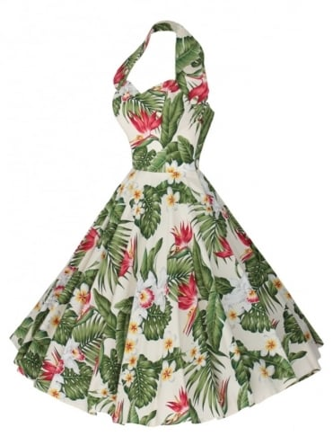 1950s Halterneck Bird of Paradise Dress