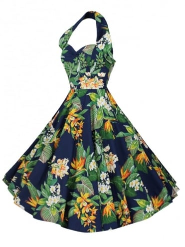1950s Halterneck Birds of Paradise Navy Dress
