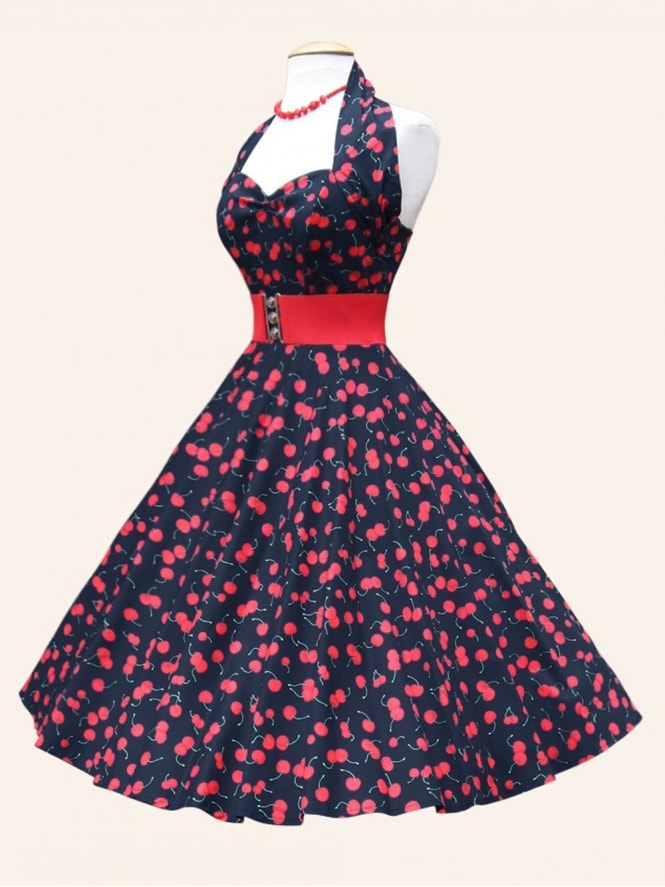 50s-1950s-Vivien-of-Holloway-Best-Vintage-Reproduction-Halterneck-Circle-Dress-Red-Black-Sateen-Cherry-Fruit-Print-Rockabilly-Swing-Pinup