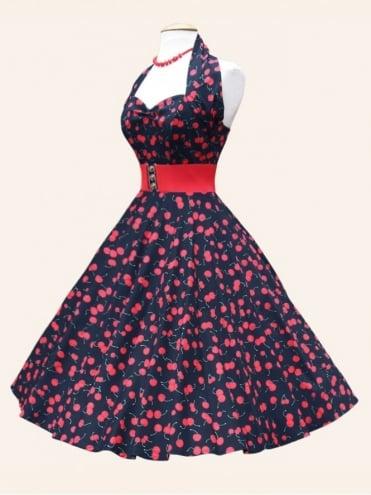 1950s Halterneck Black Cherry Sateen Dress