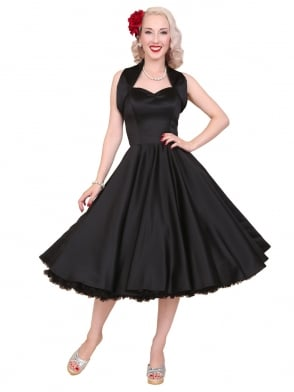 1950s Halterneck Black Duchess Dress