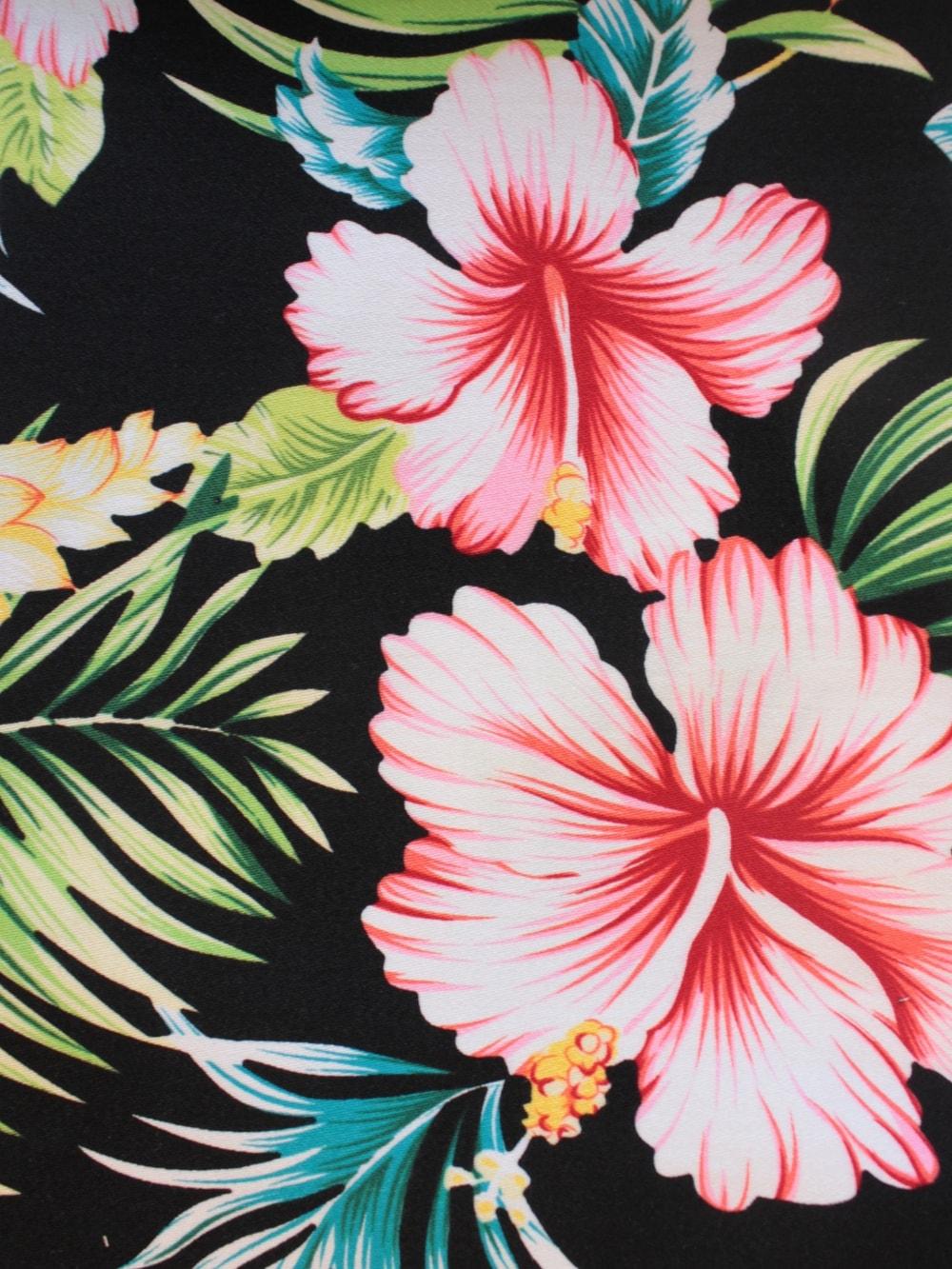 1950s Halterneck Black Hawaiian Floral Dress From Vivien Of Holloway