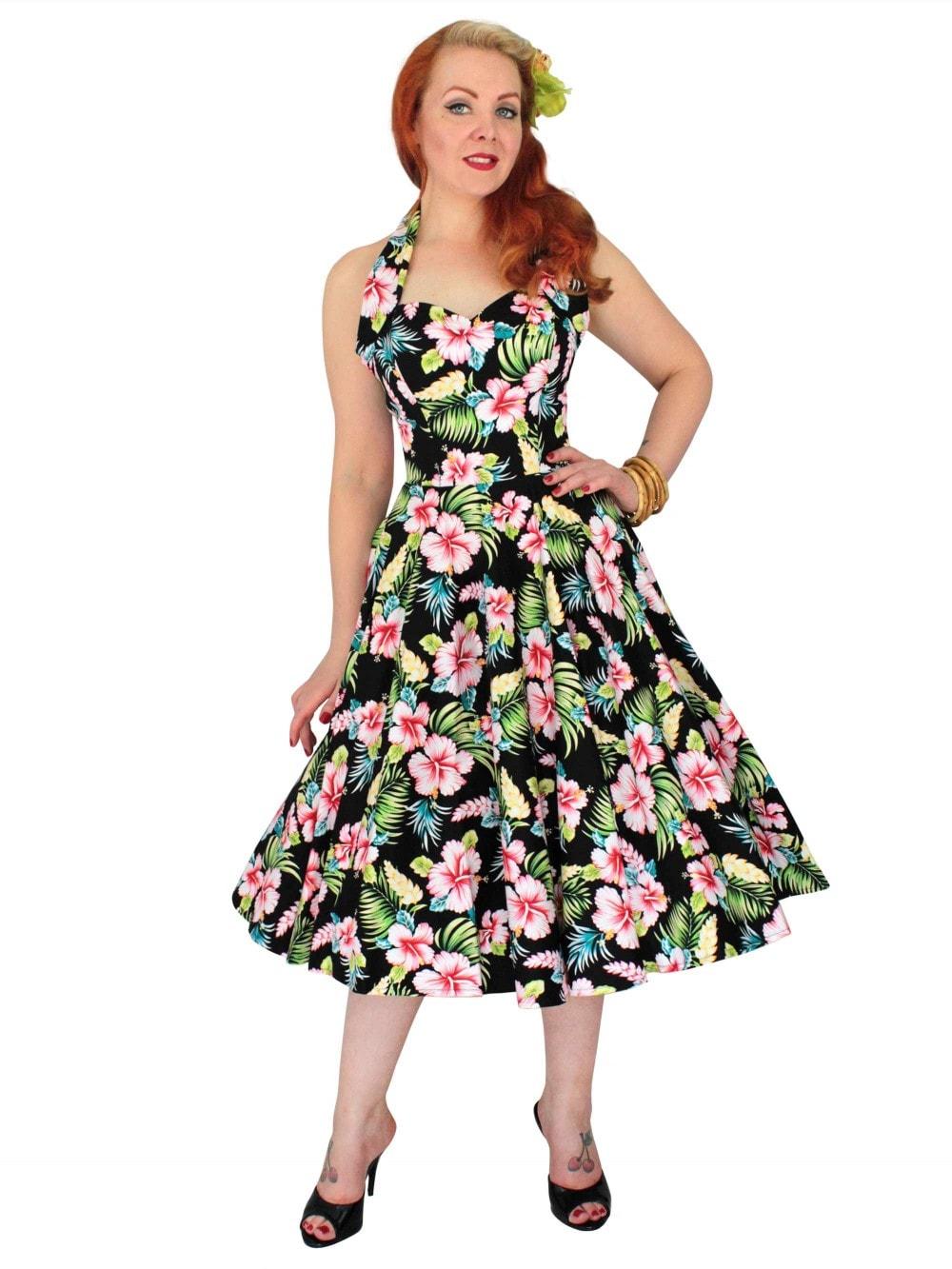 1950s Halterneck Black Hawaiian Floral Dress From Vivien
