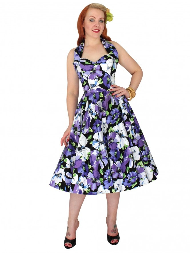 1950s Halterneck Black Purple Floral