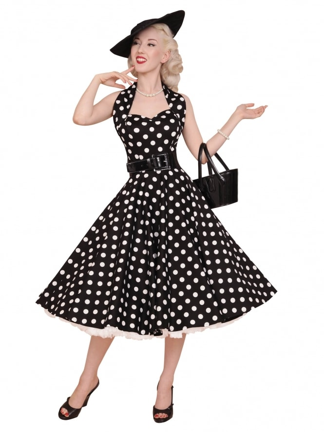 1950s Halterneck Black White Polkadot Dress
