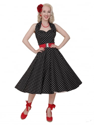 50s-1950s-Vivien-of-Holloway-Best-Vintage-Reproduction-Halterneck-Circle-Dress-Black-White-Spot-Rockabilly-Swing-Pinup