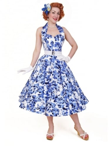 50s-1950s-Vivien-of-Holloway-Best-Vintage-Reproduction-Halterneck-Circle-Dress-White-Blue-Anemone-Floral-Print-Rockabilly-Swing-Pinup