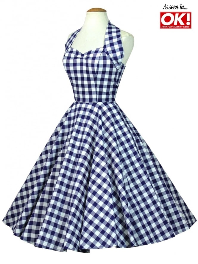 50s-1950s-Vivien-Best-Vintage-of-Holloway-Reproduction-Halterneck-Circle-Dress-Blue-Gingham-Print-Rockabilly-Swing-Pinup