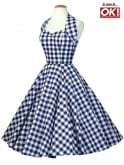 1950s Halterneck Blue Gingham Dress