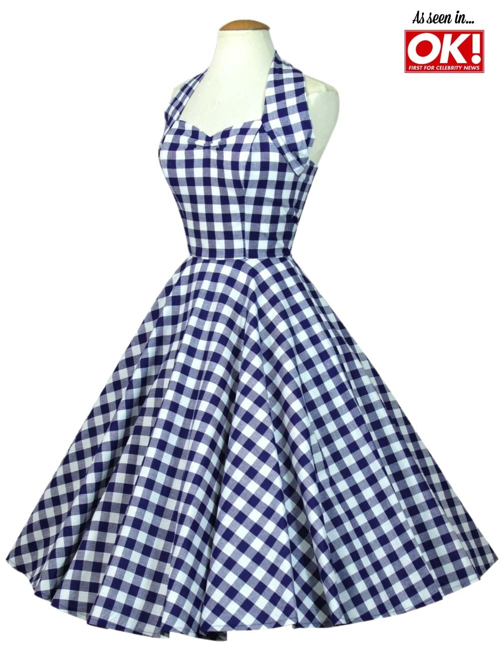 1950s Halterneck Blue Gingham Dress From Vivien Of Holloway