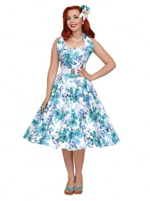 1950s Halterneck Blue Orchid Dress