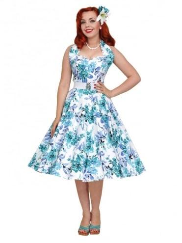 1950s Halterneck Blue Orchid Dress