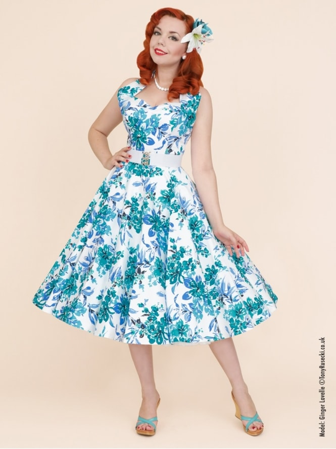 50s-1950s-Vivien-of-Holloway-Best-Vintage-Reproduction-Halterneck-Circle-Dress-White-Blue-Orchid-Floral-Print-Rockabilly-Swing-Pinup