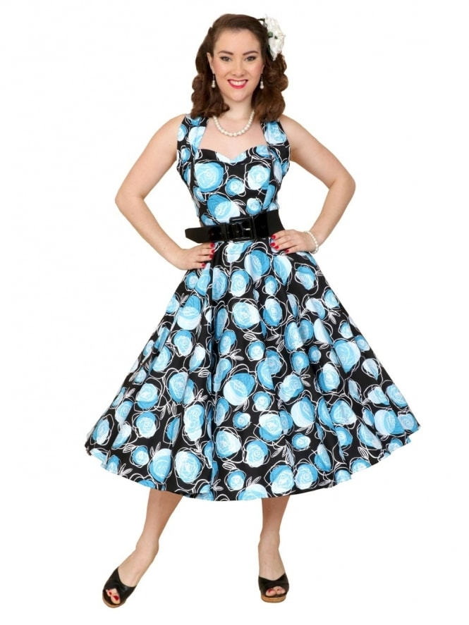 50s-1950s-Vivien-of-Holloway-Best-Vintage-Reproduction-Halterneck-Circle-Dress-Blue-Rose-Floral-Print-Rockabilly-Swing-Pinup