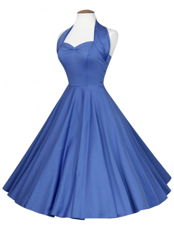 50s-1950s-Vivien-of-Holloway-Best-Vintage-Reproduction-Halterneck-Circle-Dress-Bluebell-Blue-Sateen-Rockabilly-Swing-Pinup