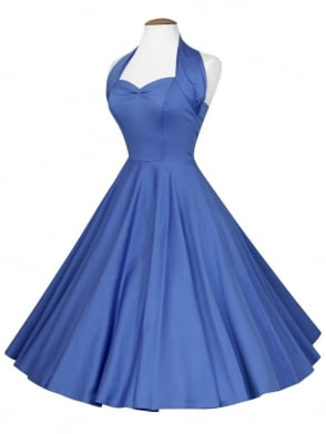 1950s Halterneck Bluebell Sateen Dress