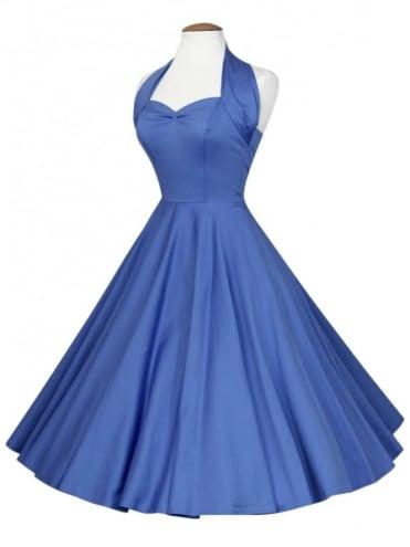 1950s Halterneck Bluebell Sateen Dress