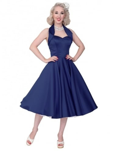 1950s Halterneck Blueberry Duchess Dress