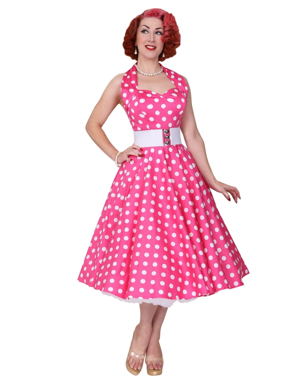 1950s Halterneck Cerise Polkadot Dress From Vivien Of Holloway