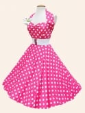 1950s Halterneck Cerise Polkadot Dress