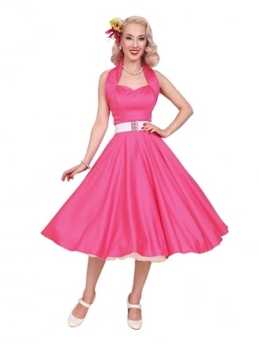 50s-1950s-Vivien-of-Holloway-Best-Vintage-Reproduction-Halterneck-Circle-Dress-Cerise-Pink-Sateen-Rockabilly-Swing-Pinup