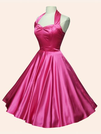 1950s Halterneck Cerise Satin Dress